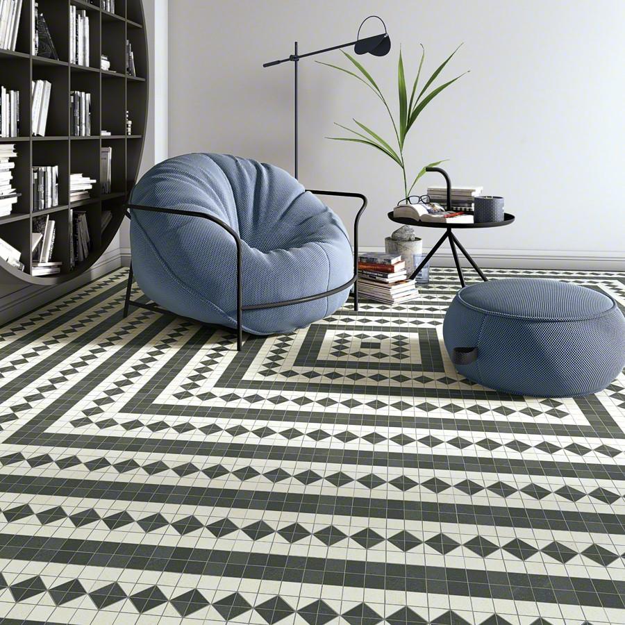 Inspiration carrelages effet carreaux de ciment noir et blanc l Carrelages Delannoy