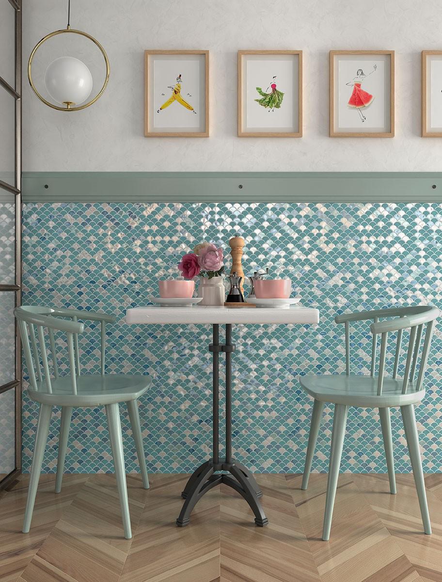 Carrelages effet mosaïques couleurs froides l Carrelages Delannoy